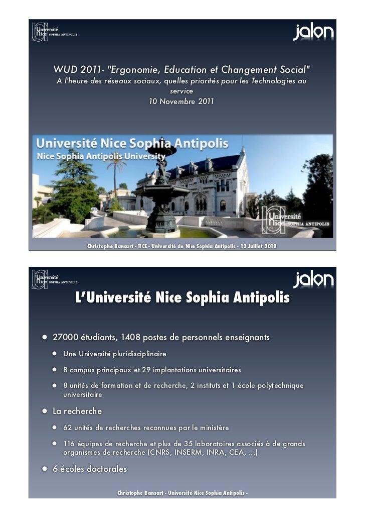 """WUD 2011- """"Ergonomie, Education et Changement Social""""    A lheure des réseaux sociaux, quelles priorités pour les Technolo..."""