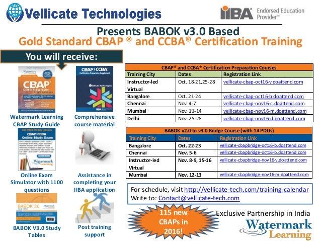Gold Standard CBAP/CCBA BABOK v3 0 Based Prep course Announced!