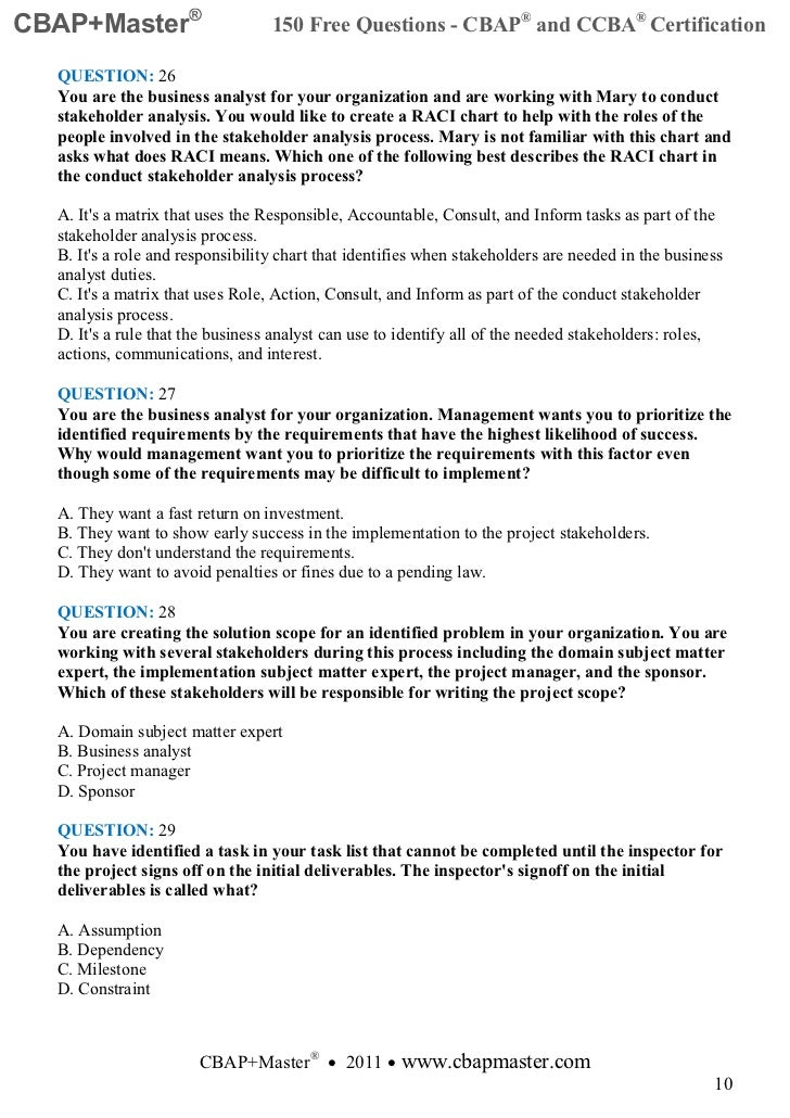 business requirements questionnaire template - cbap master 150 free questions