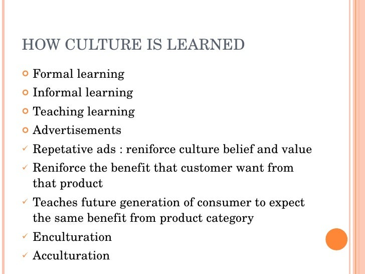 culture is learned behavior