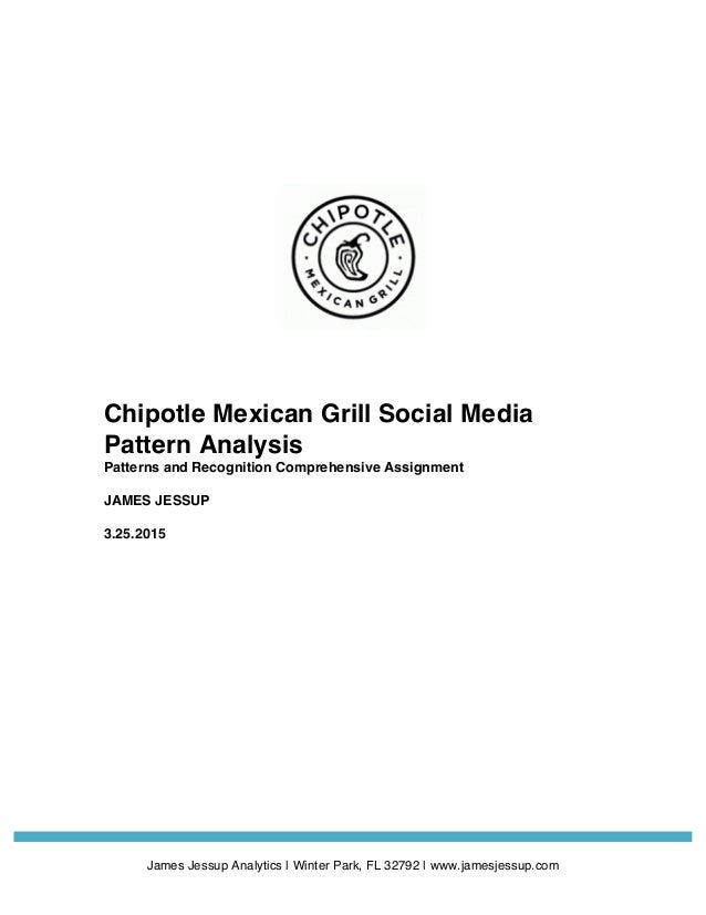 James Jessup Analytics   Winter Park, FL 32792   www.jamesjessup.com Chipotle Mexican Grill Social Media Pattern An...
