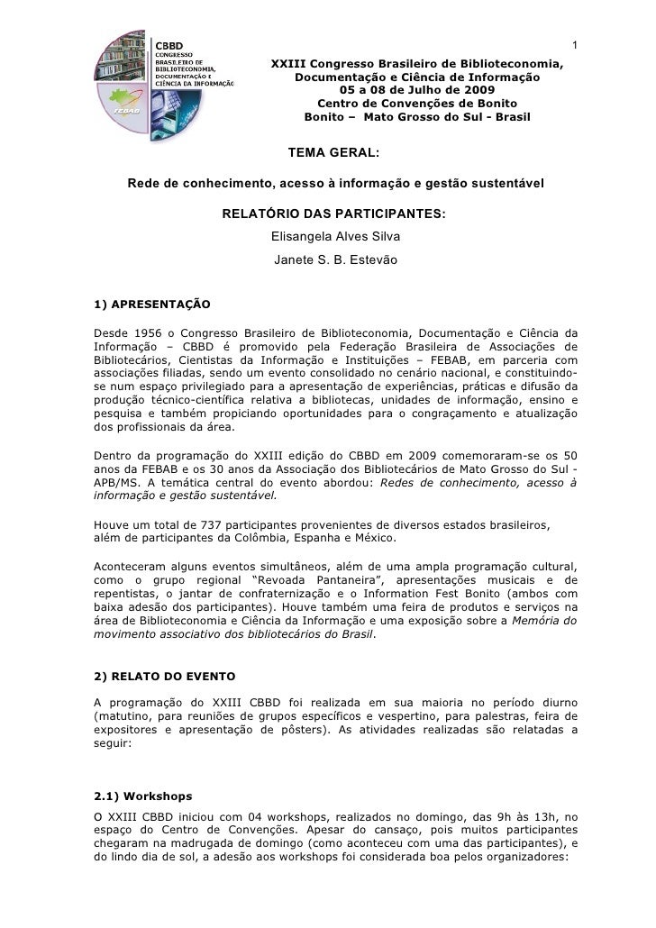 1                                XXIII Congresso Brasileiro de Biblioteconomia,                                   Document...