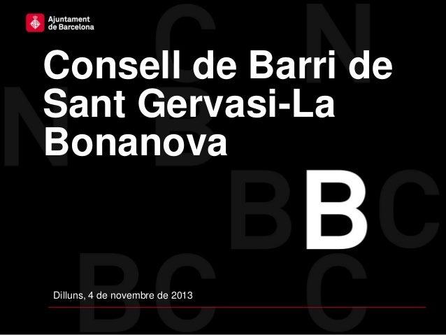 Consell de Barri de Sant Gervasi-La Bonanova  Dilluns, 4 de novembre de 2013
