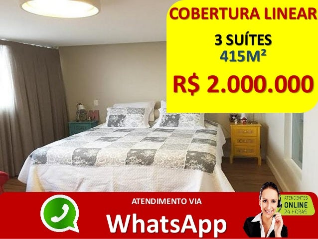 COBERTURA LINEAR 3 SUÍTES 415M² R$ 2.000.000 ATENDIMENTO VIA WhatsApp