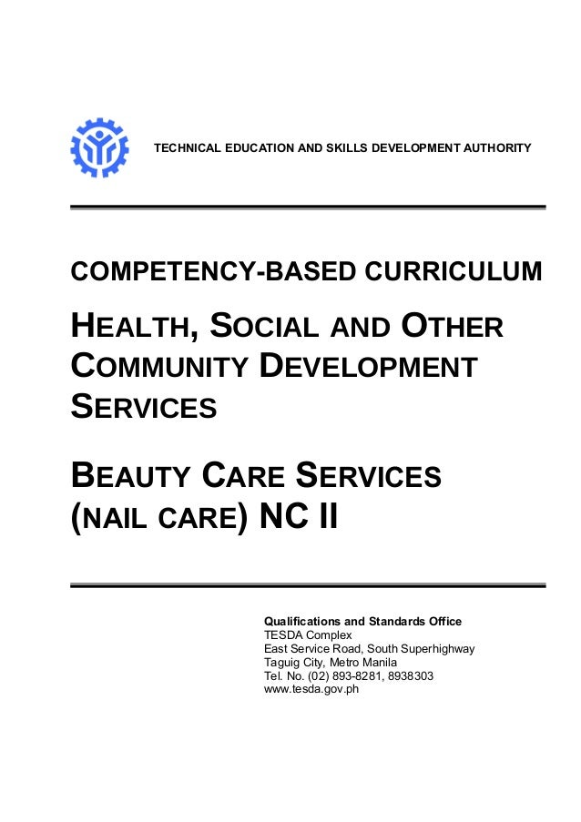TECHNICAL EDUCATION AND SKILLS DEVELOPMENT AUTHORITY COMPETENCY-BASED CURRICULUM HEALTH, SOCIAL AND OTHER COMMUNITY DEVELO...