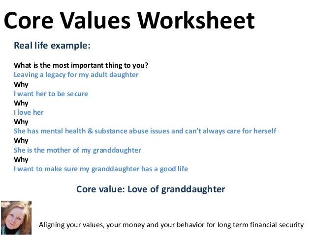 Cbc makingfriendswithyourmoney talk – Core Values Worksheet