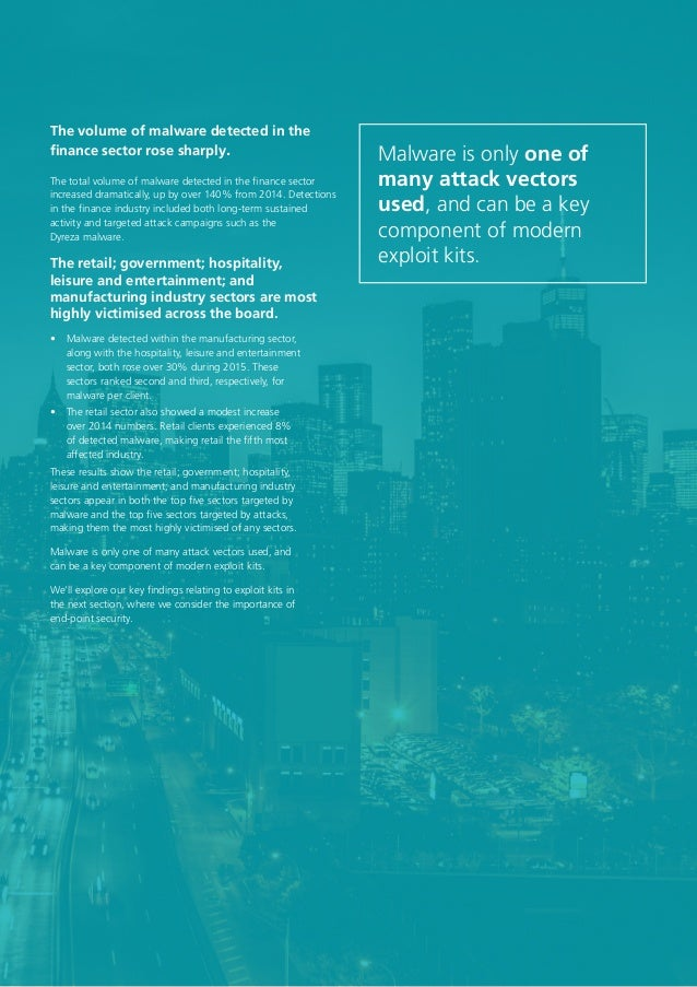 13 The volume of malware detected in the finance sector rose sharply. The retail; government; hospitality, leisure and ent...