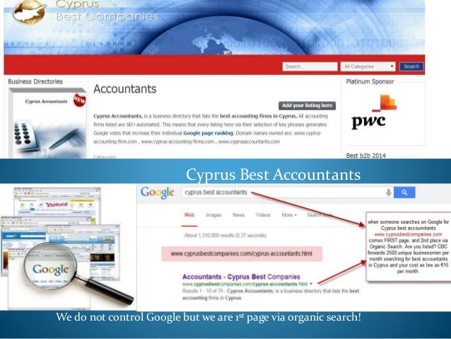 Cyprus Best Accountants We do not control Google but we are 1st page via organic search!