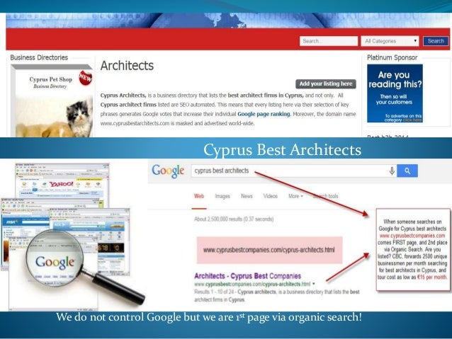 Cyprus Best Architects We do not control Google but we are 1st page via organic search!
