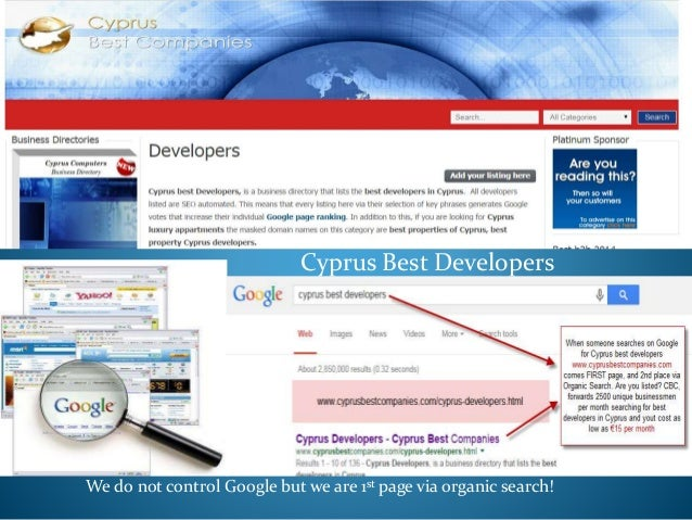 Cyprus Best Developers We do not control Google but we are 1st page via organic search!