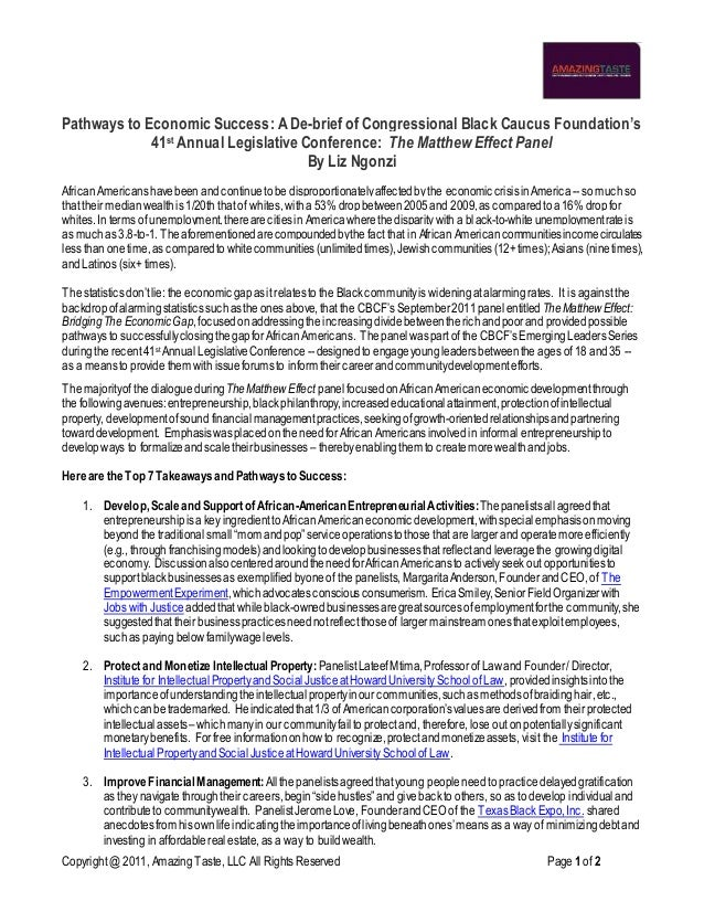 Copyright @ 2011, AmazingTaste, LLC All Rights Reserved Page1 of 2 Pathways to Economic Success: A De-brief of Congression...