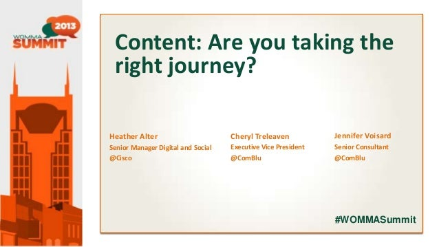 Content: Are you taking the right journey? Presenter Name Title Company  Heather Alter  Cheryl Treleaven  Jennifer Voisard...