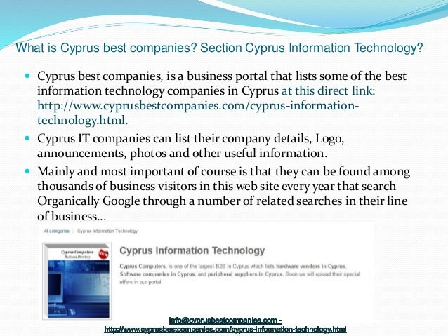 Cyprus information technology is a business directory for ITs related…