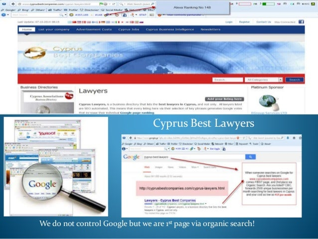 Cyprus Best Lawyers We do not control Google but we are 1st page via organic search!