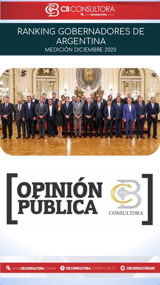 RANKING GOBERNADORES DE ARGENTINA MEDICIÓN DICIEMBRE 2020