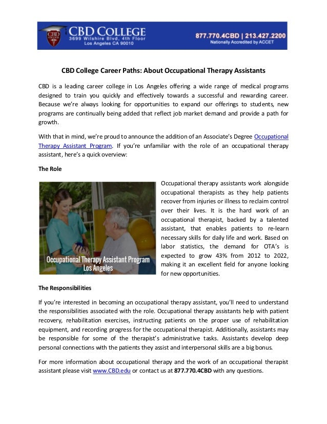 Cbd College Career Paths About Occupational Therapy Assistants