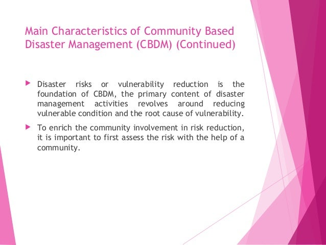 community based system for disaster management How are community resilience and disaster preparedness related the traditional preparedness approach by encouraging actions that build preparedness while also promoting strong community systems and addressing the many factors that contribute to health and emergency management partners.