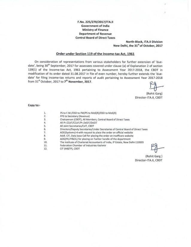 Cbdt order for extension 2017