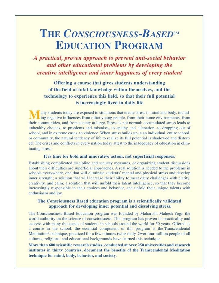 THE CONSCIOUSNESS-BASED                                                          SM           EDUCATION PROGRAM   A practi...
