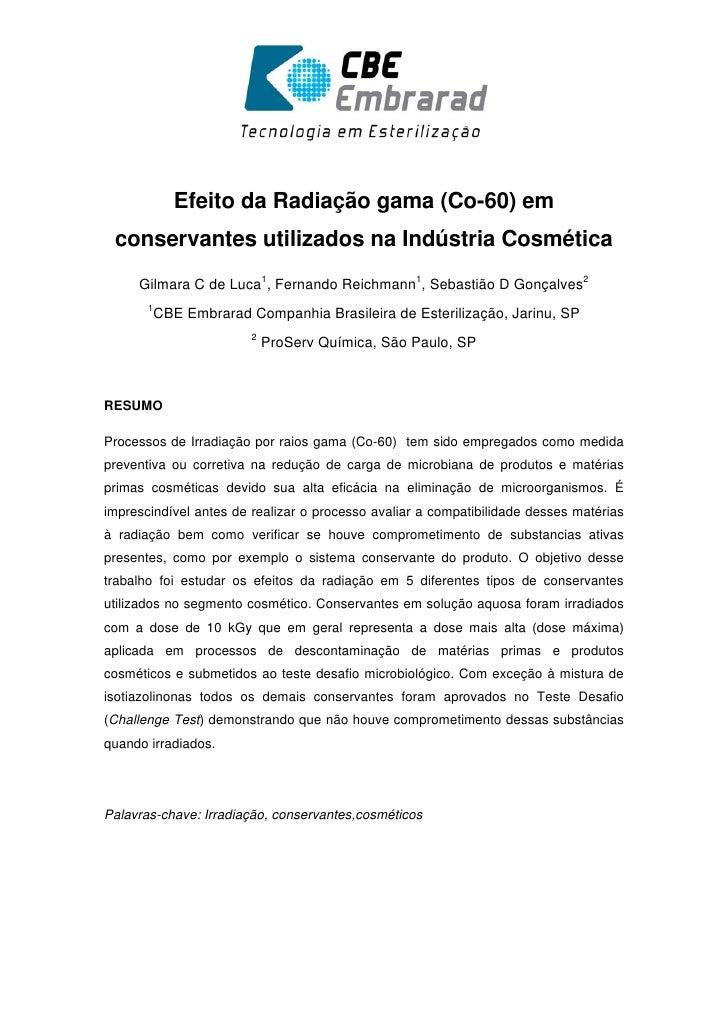 Efeito da Radiação gama (Co-60) em conservantes utilizados na In...