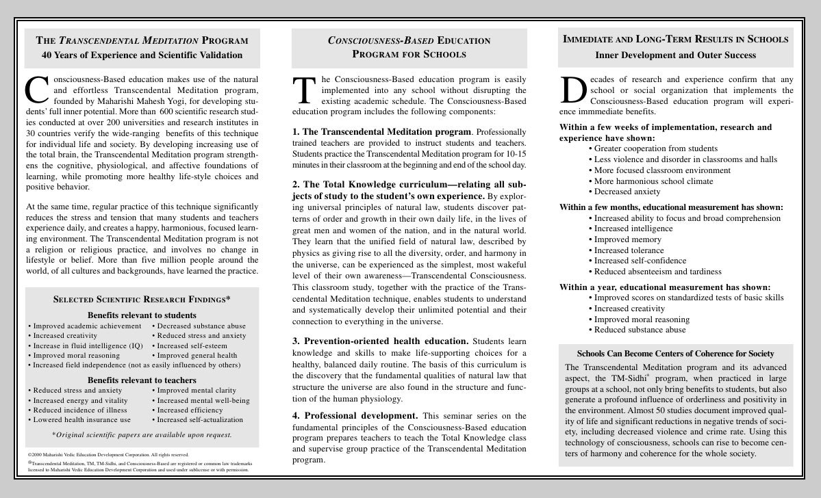 THE TRANSCENDENTAL MEDITATION PROGRAM                                                                                CONSC...