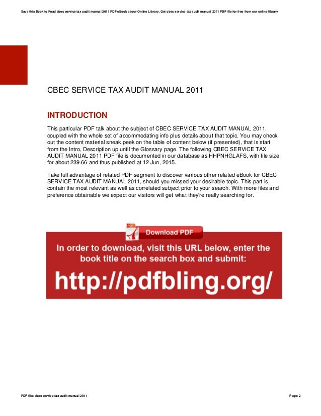 cbec service tax audit manual 2011 rh slideshare net Instruction Manual Tax Guide