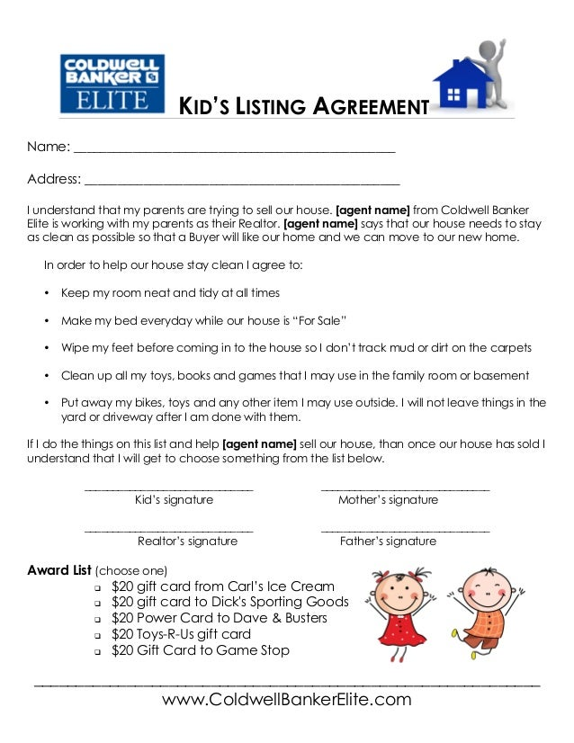 Kids Real Estate Listing Agreement