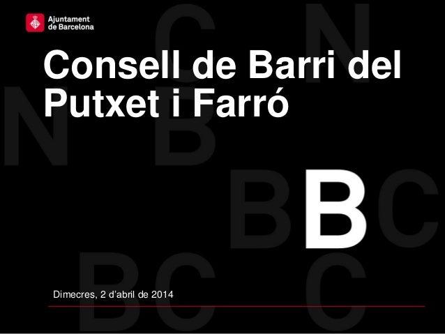 Consell de Barri del Putxet i Farró Dimecres, 2 d'abril de 2014