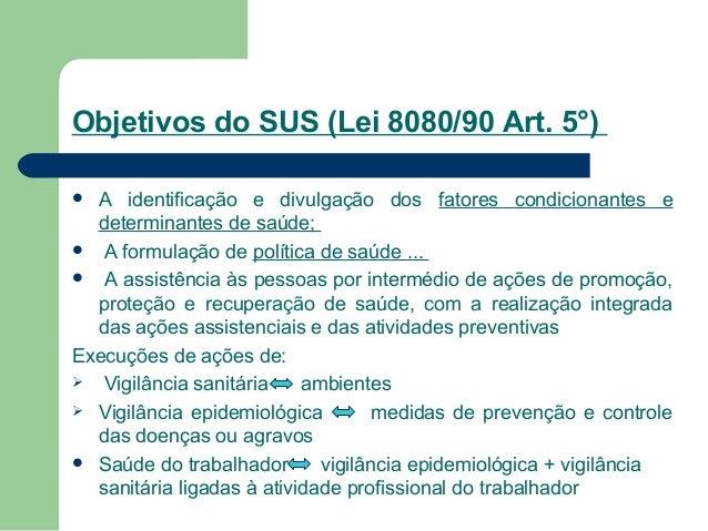 Objetivos do SUS (Lei 8080/90 Art. 5°) A identificação e divulgação dos fatores condicionantes e determinantes de saúde; ...