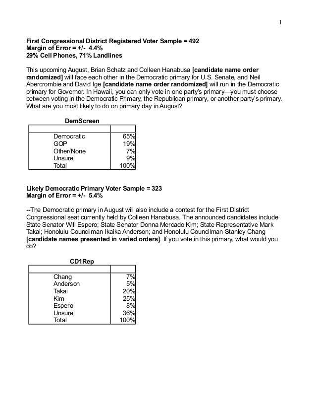 1 First Congressional District Registered Voter Sample = 492 Margin of Error = +/- 4.4% 29% Cell Phones, 71% Landlines Thi...