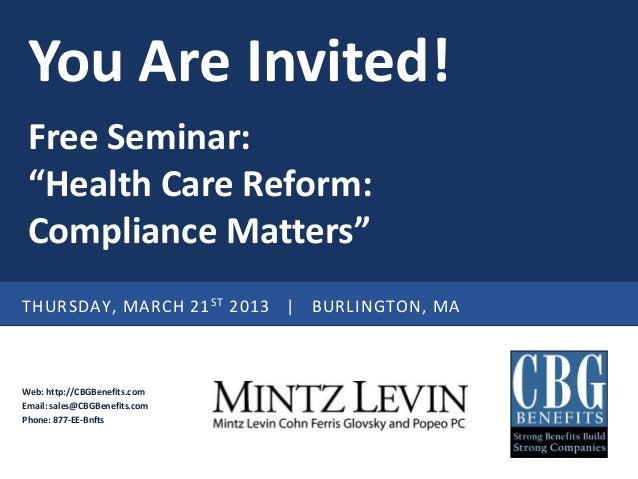 March 21st Health Care Reform Seminar Invitation