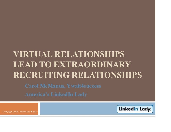 VIRTUAL RELATIONSHIPS         LEAD TO EXTRAORDINARY         RECRUITING RELATIONSHIPS                   Carol McManus, Ywai...