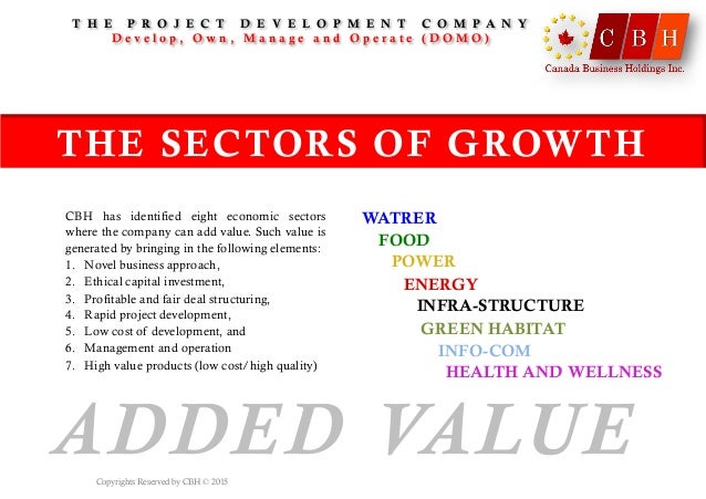 ADDED VALUE CBH has identified eight economic sectors where the company can add value. Such value is generated by bringing...