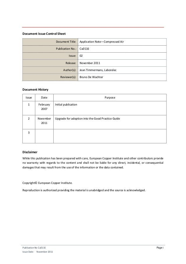 Publication No Cu0116 Issue Date: November 2011 Page i Document Issue Control Sheet Document Title: Application Note—Compr...
