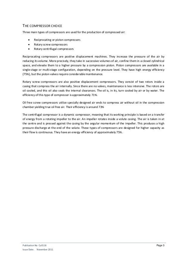 Publication No Cu0116 Issue Date: November 2011 Page 3 THE COMPRESSOR CHOICE Three main types of compressors are used for ...