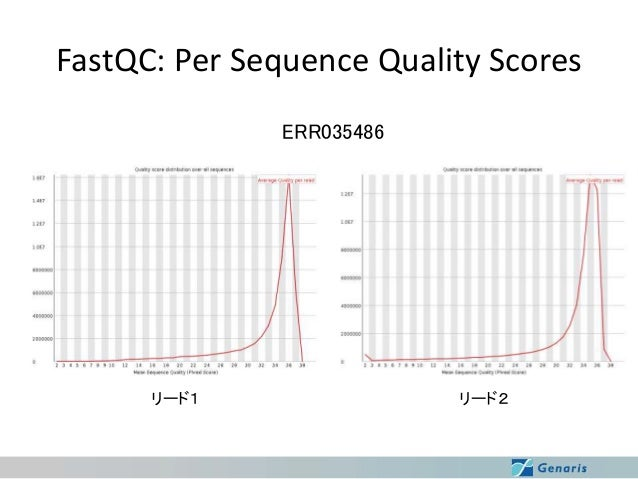 FastQC: Per Sequence Quality Scores ERR035486  リード1  リード2