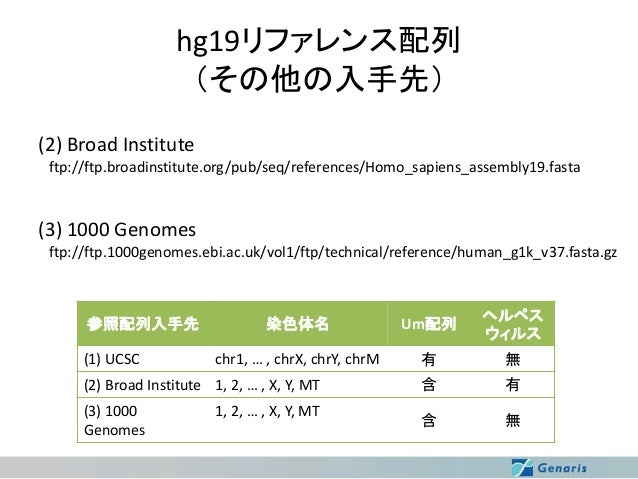hg19リファレンス配列 (その他の入手先) (2) Broad Institute ftp://ftp.broadinstitute.org/pub/seq/references/Homo_sapiens_assembly19.fasta  ...