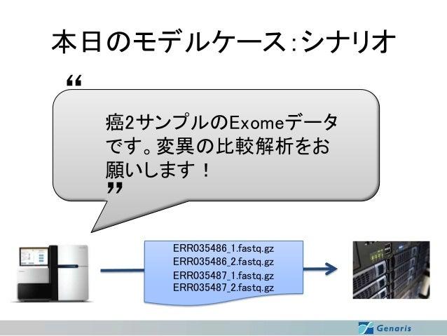 """本日のモデルケース:シナリオ  """"  癌2サンプルのExomeデータ です。変異の比較解析をお 願いします!  """" ERR035486_1.fastq.gz ERR035486_2.fastq.gz ERR035487_1.fastq.gz E..."""