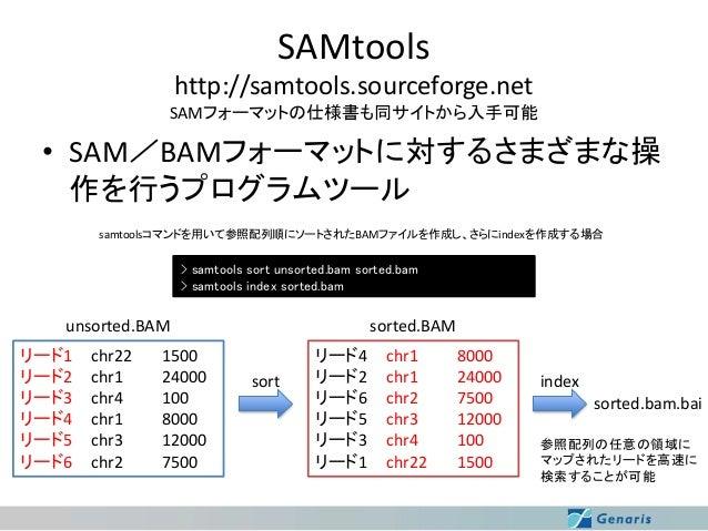 SAMtools http://samtools.sourceforge.net SAMフォーマットの仕様書も同サイトから入手可能  • SAM/BAMフォーマットに対するさまざまな操 作を行うプログラムツール samtoolsコマンドを用いて...