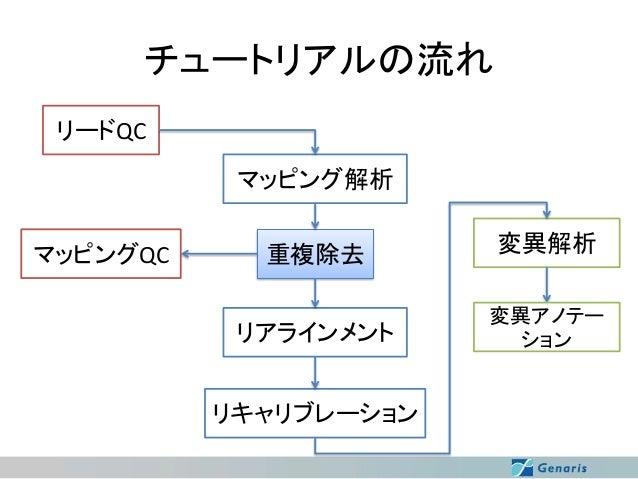 チュートリアルの流れ リードQC マッピング解析  マッピングQC  重複除去 リアラインメント リキャリブレーション  変異解析 変異アノテー ション