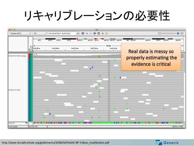 GATKによるリキャリブレーション > java -jar GenomeAnalysisTK.jar -T CountCovariates ¥ -I ERR035486.rmdup.realigned.bam ¥ -R hg19.fa ¥ -S...