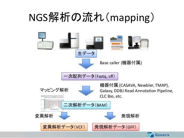 NGS解析の流れ(mapping) 生データ Base caller (機器付属) 一次配列データ(Fastq, sff) マッピング解析  機器付属 (CASAVA, Newbler, TMAP), Galaxy, DDBJ Read Ann...