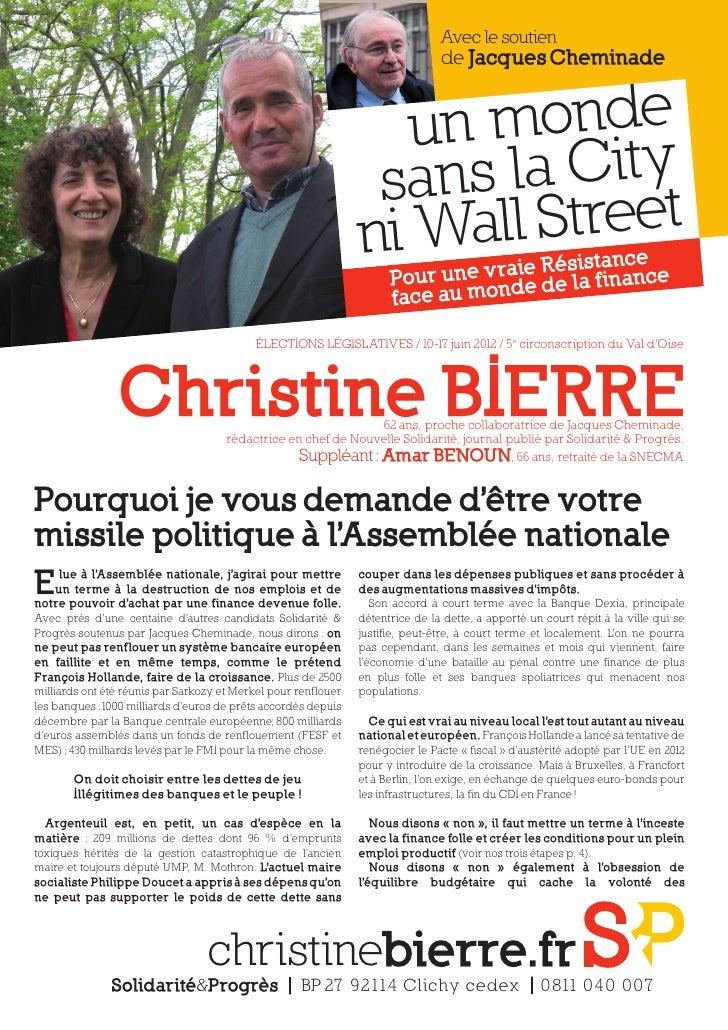 Avec le soutien                                                                                de Jacques Cheminade       ...