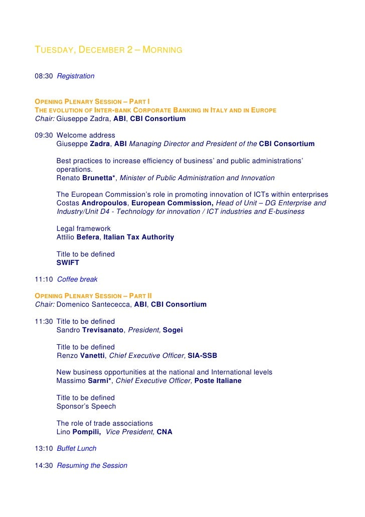 TUESDAY, DECEMBER 2 – MORNING  08:30 Registration   OPENING PLENARY SESSION – PART I THE EVOLUTION OF INTER-BANK CORPORATE...