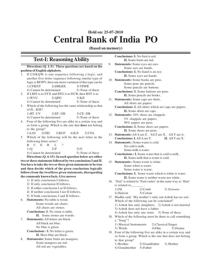 Held on: 25-07-2010                         Central Bank of India PO                                                     (...