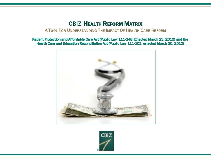 CBIZ HEALTH REFORM MATRIX       A TOOL FOR UNDERSTANDING THE IMPACT OF HEALTH CARE REFORMPatient Protection and Affordable...