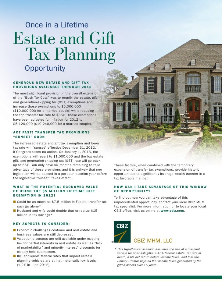Once in a LifetimeEstate and Gift	 Tax Planning       OpportunityGENEROUS NEW ESTATE AND GIFT TAXPROVISIONS AVAILABLE THRO...