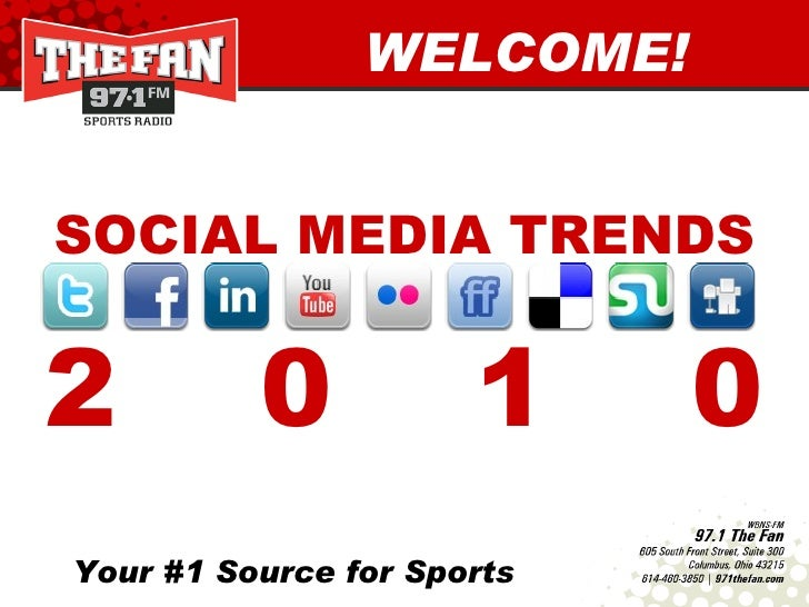 Your #1 Source for Sports WELCOME! SOCIAL MEDIA TRENDS 2  0  1  0