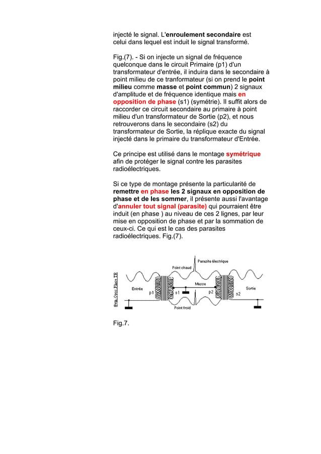 injecté le signal. L'enroulement secondaire est celui dans lequel est induit le signal transformé. Fig.(7). - Si on inject...