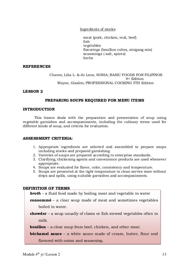Cblm lg gr 10 tle commercial cooking cookery – Basic Cooking Terms Worksheet